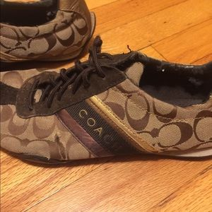 Brown coach sneakers size 9.5